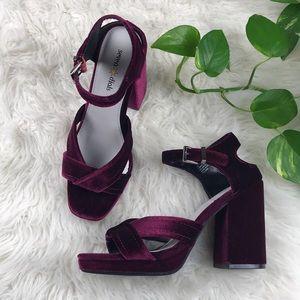 Burgundy velvet block heels